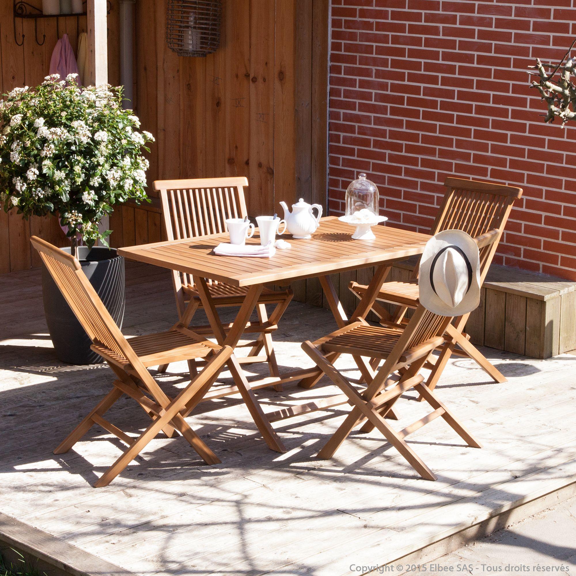 Salon de jardin 4 places teck huilé : table pliante 120x80cm + 4 ...