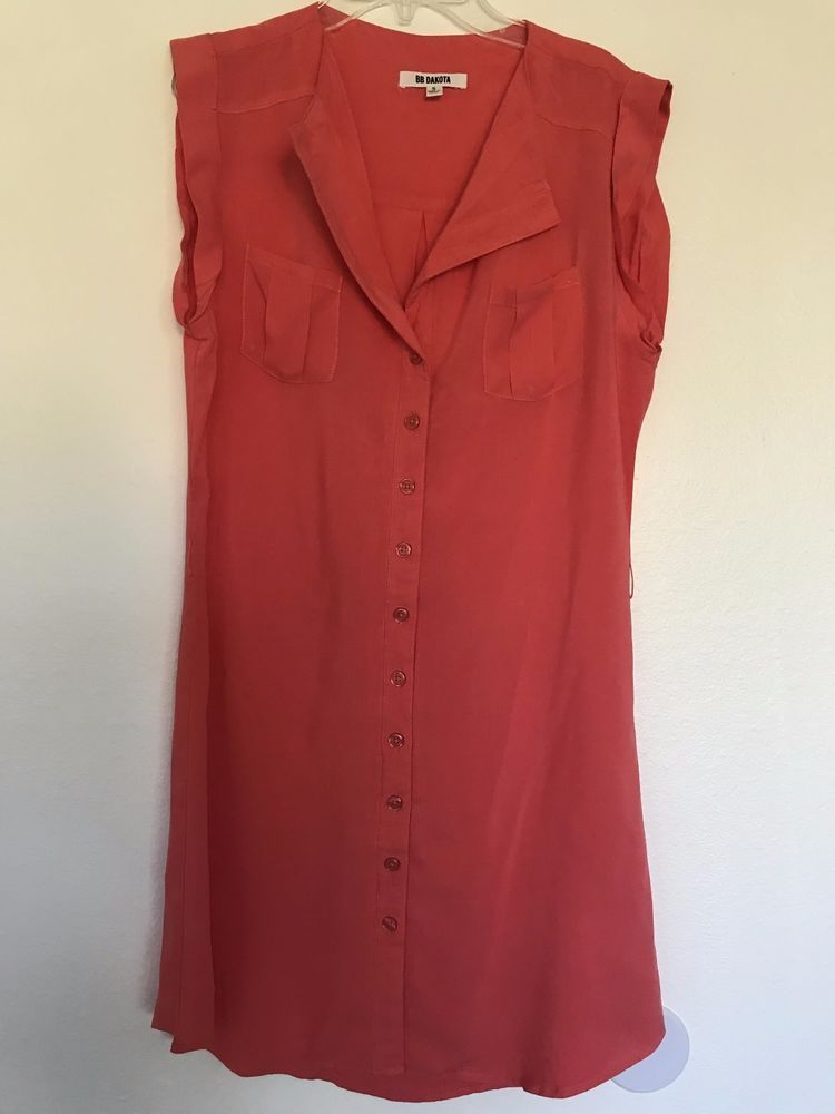 99985e16f1458c BB Dakota Women s Button Front Shirt Dress Coral Size S