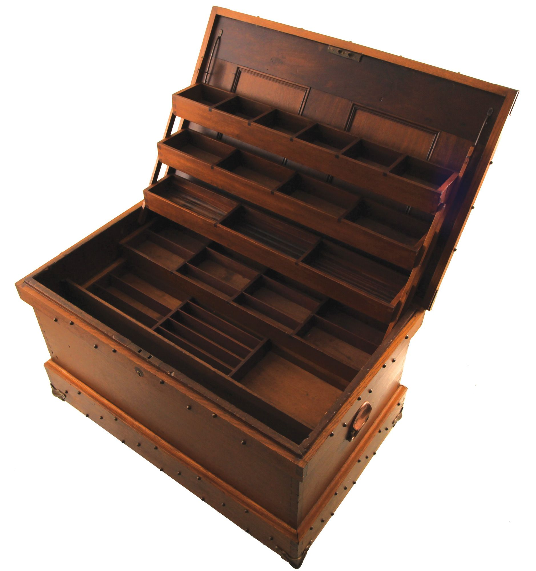 a fancy oak and walnut tool chest having cantilevered. Black Bedroom Furniture Sets. Home Design Ideas