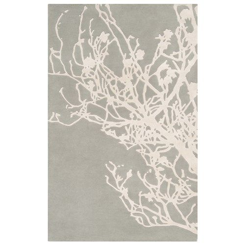 Surya Branches Pigeon Gray/Peach Cream Hand Tufted Rug