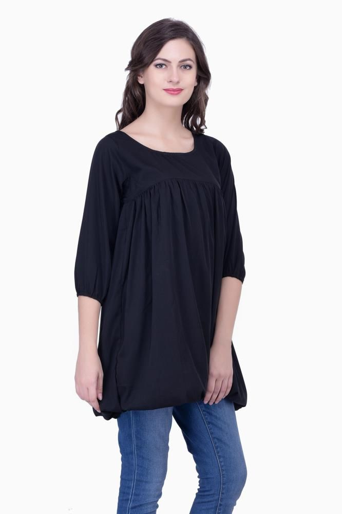 e8cbdfae26f Buy Black Solid Women Party wear office wear Casual Tunic Tops Tunics for  Women Online India, Best Prices