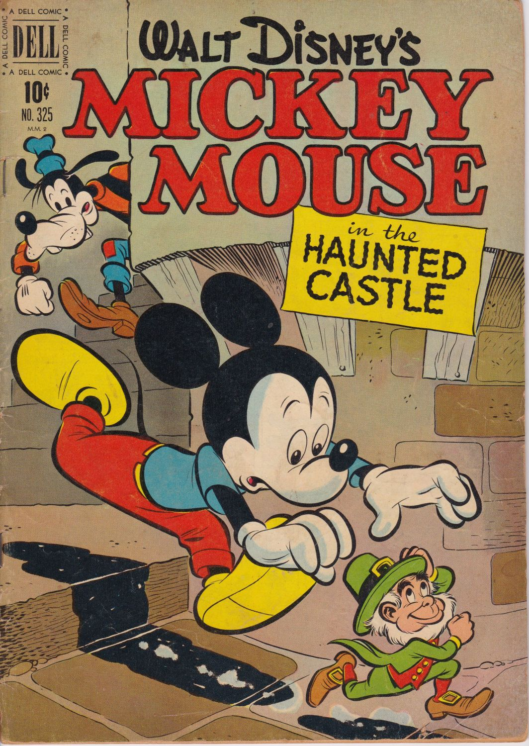 Four Color 325 Mickey Mouse In The Haunted Castle April 1951 Issue Dell Comics Grade G Vg Dell Comic Walt Disney Mickey Mouse Mickey Mouse