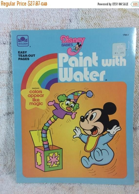 Vintage 1984 Disney Babies Paint With Water Book Unused Like Etsy Baby Painting Childrens Colouring Book Coloring Books