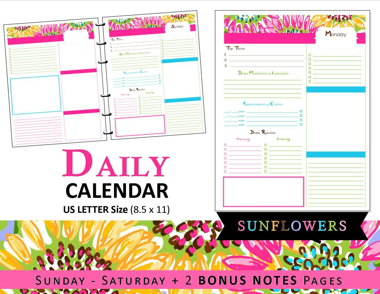 Lilly Inspired Daily Calendar Planner Refills  Bonus Notes
