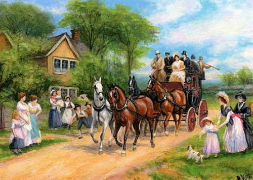 Horses-carriage-victorian-figures-house-Heywood-Hardy-original-aceo-painting-art --- Winning bid ...
