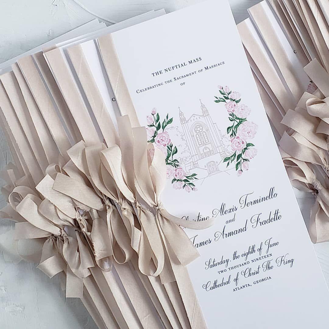 Silk Ribbon For These Custom Wedding Programs 💗
