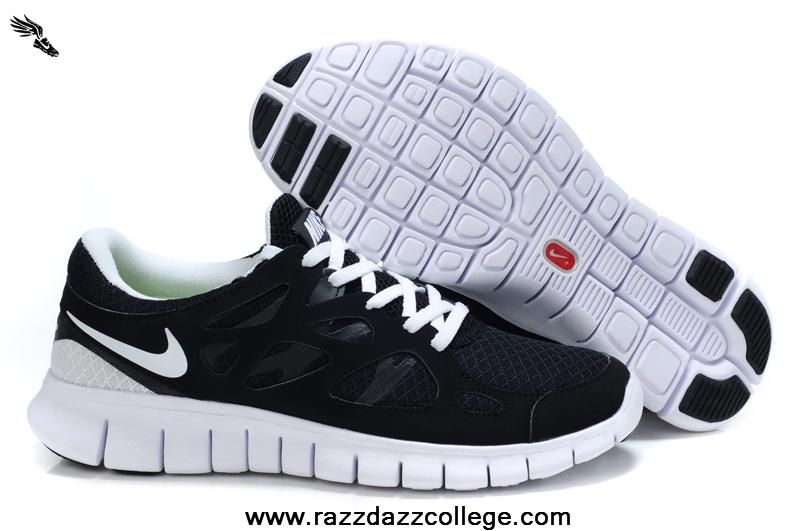 Authentic Black White Nike Free Run 2 443815-102 Womens 2013 Free Shoes