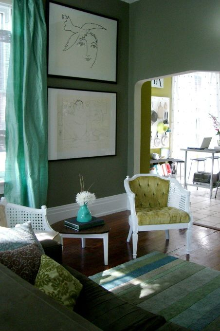Eclectic Elegance On A Budget | Rate My Space | White Paint Unifies Craigu0027s  List Finds · Green Living RoomsLiving Room ...