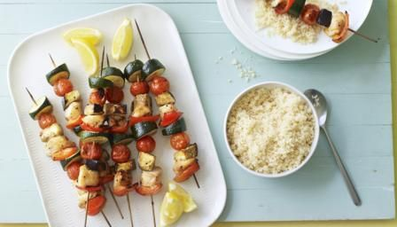 Bbc food collections home cooked convenience appetizers bbc food recipes sticky chicken and vegetable kebabs with couscous forumfinder Gallery