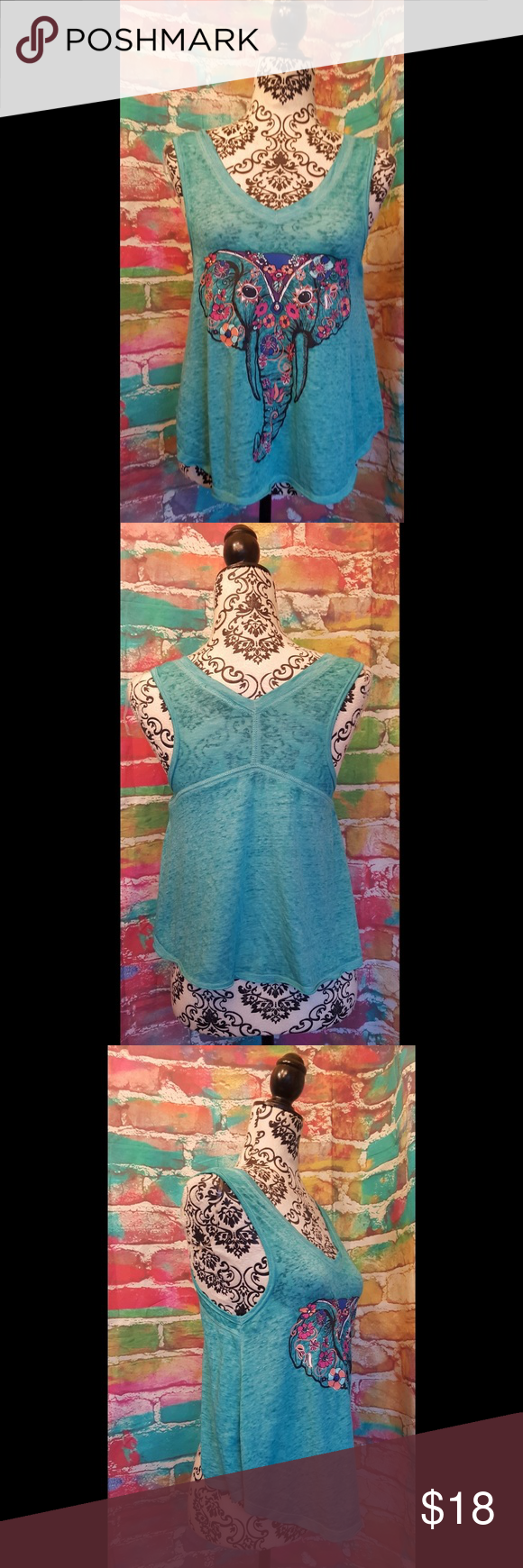 Boho Elephant Burn out Camo Tank Top Medium Boho Graphic top size small shark bite textured burn out cami elephant Yoga women's blouse shirt  Sleeveless tank top  Excellent pre owned condition without any noted flaws If you have any questions, please do not hesitate to ask- we will reply to you as quickly as possible. Tops Tank Tops