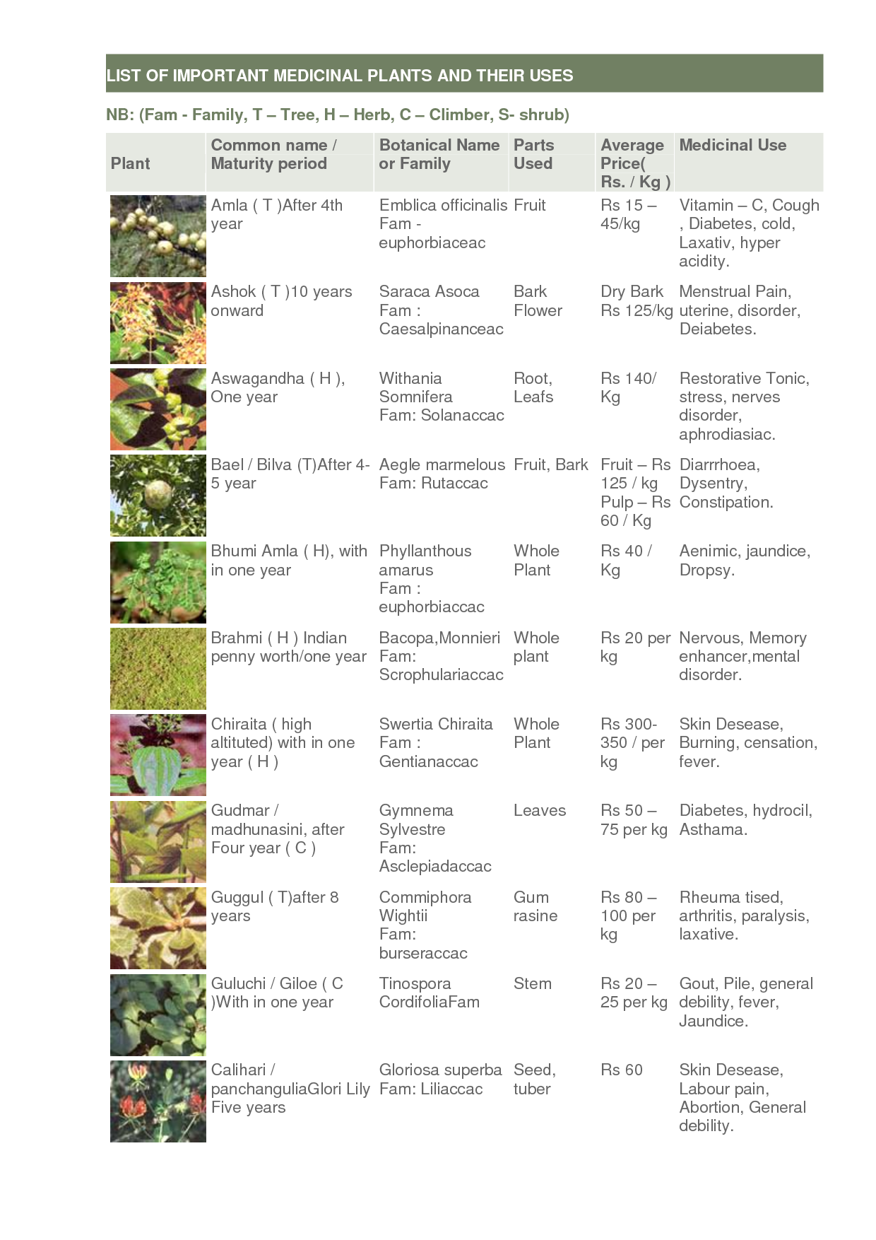 A list of some medicinal plants and their uses see it