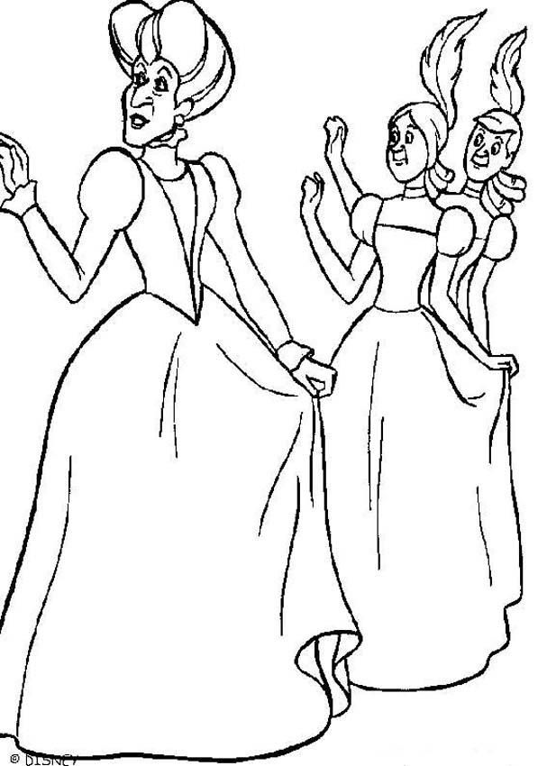 Cinderella Does Not Have A Nice Step Family By Bossing Her Around All Day Coloring Pages Can Be Decorated Online With The Interactive