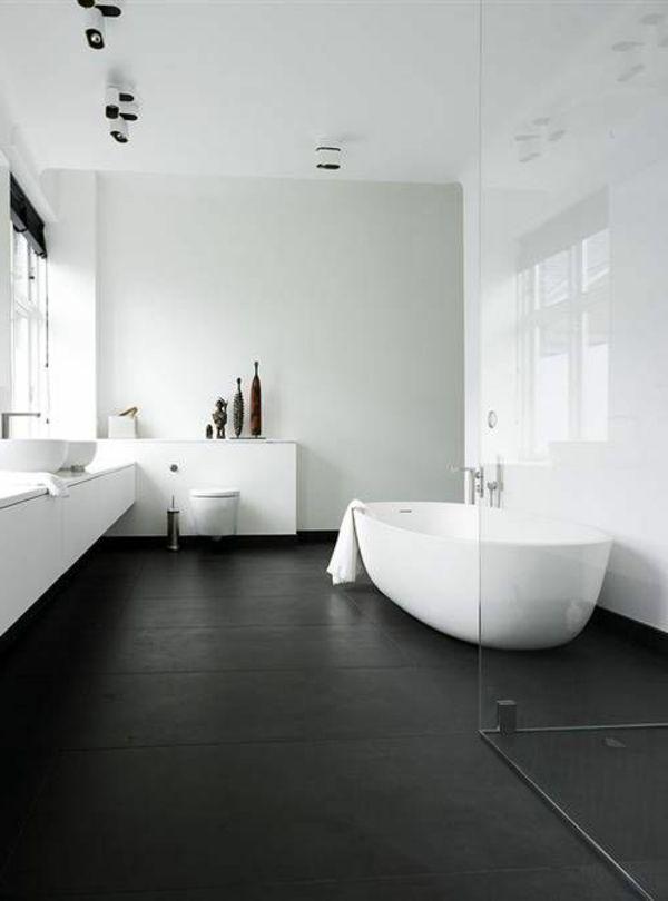 Modernes Badezimmer Helle Wände Dunkler Boden Deko | Baths ... Schwarze Badezimmer Ideen