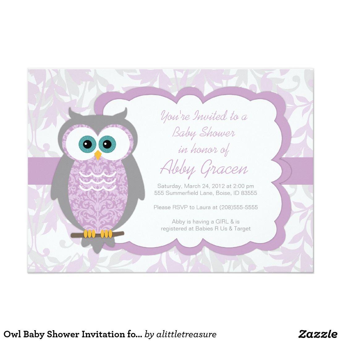 Owl Baby Shower Invitation for Girls, Purple - 730 5\