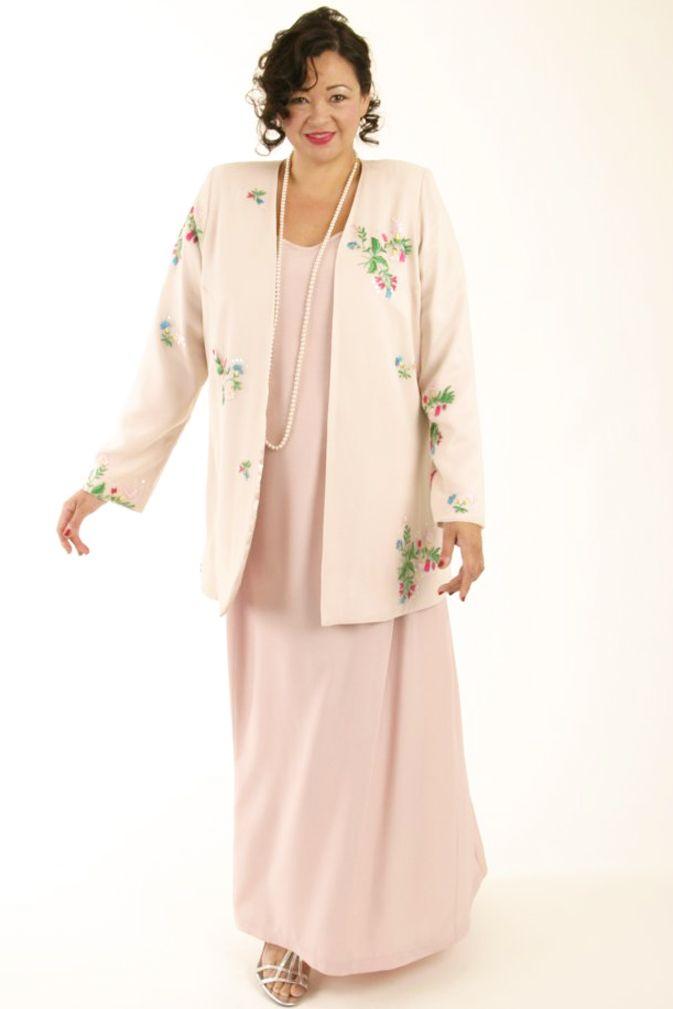 Alternative Bridal Formal Custom Jacket Wildflowers Embroidered Beaded Silk Pink Sizes 14 – 32 2