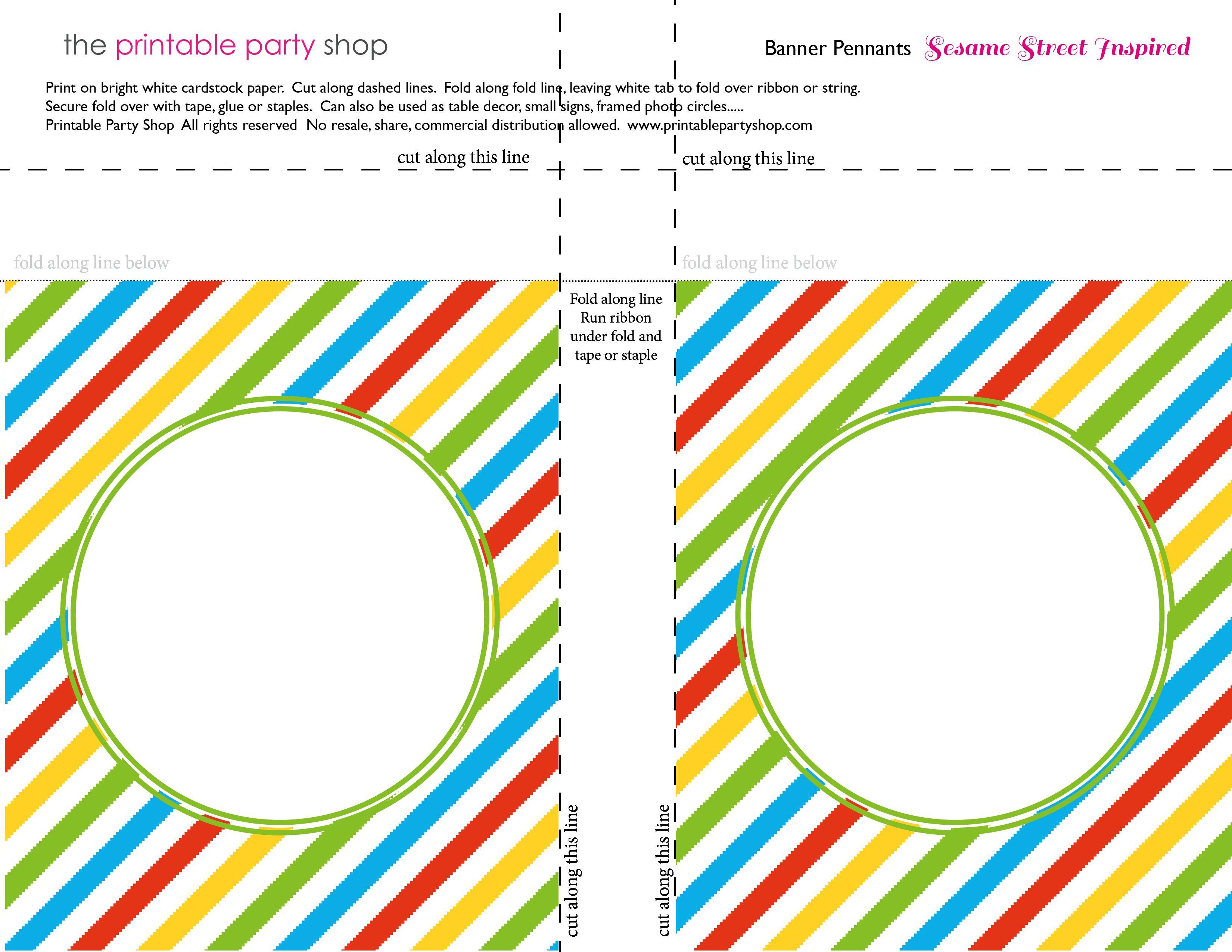 Banner Squares Stripes Sesame Street Printablepartyshop