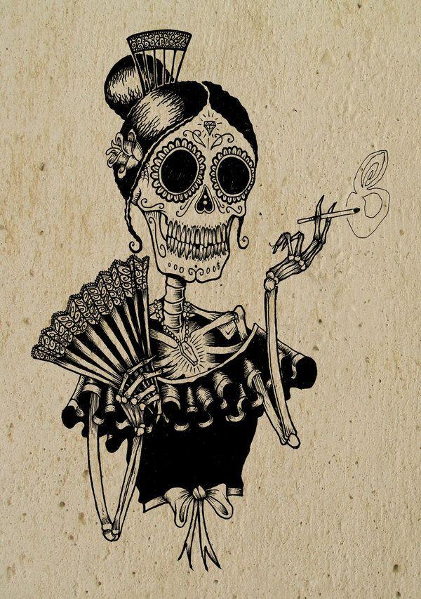 Pouca Sinceridade E Uma Coisa Perigosa E Muita Sinceridade E Absolutamente Fatal Produccion Artistica Dibujo Dia De Muertos Calavera Fumando