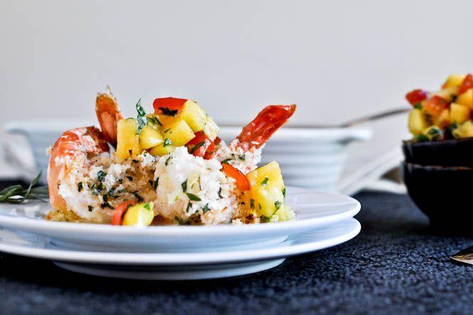 coconut baked shrimp with pineapple peach salsa