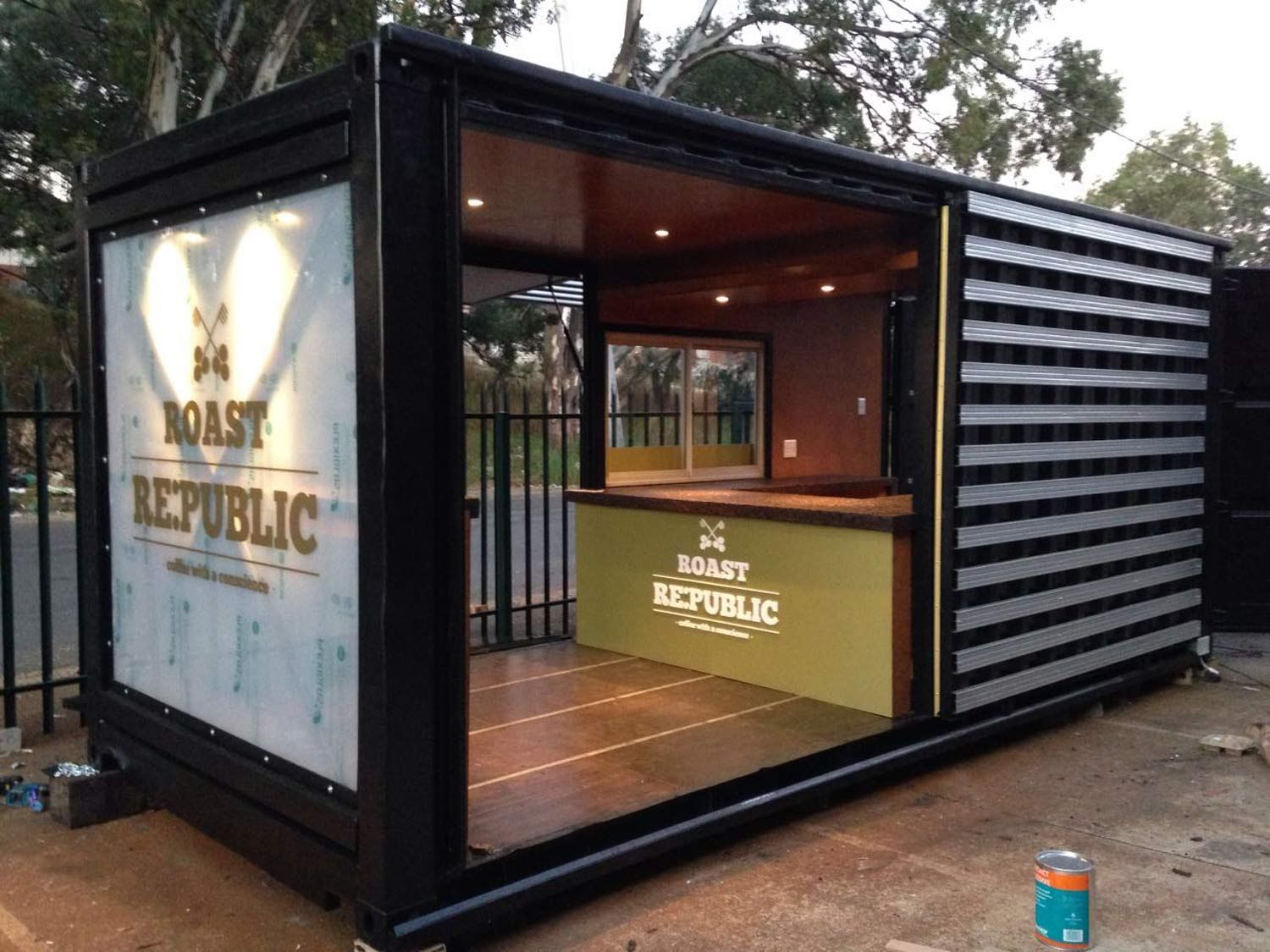Old Shipping Container Is Converted Into A Chic Coffee Shop In Johannesburg Building A Container Home Container House Design Container Shop