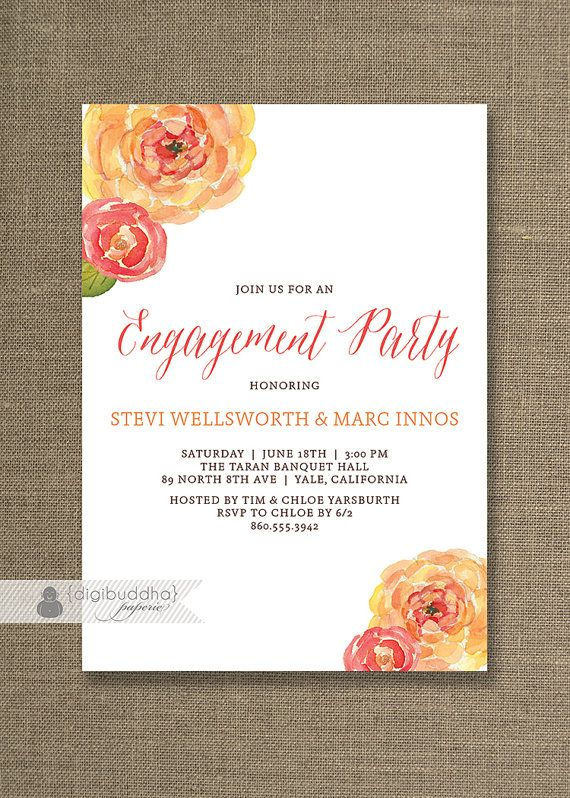 Watercolor Blooms Engagement Party Invitation Pink Orange Peach - free engagement party invitations