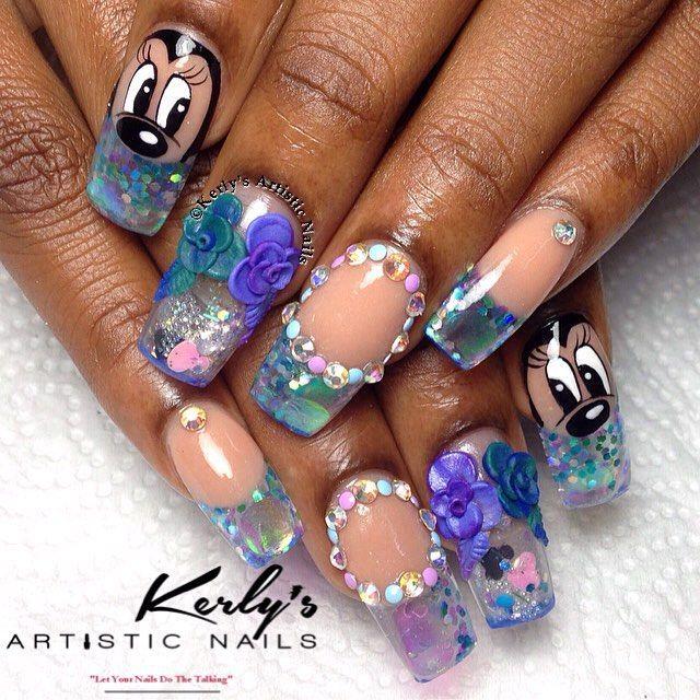 Minnie Mouse themed aquarium nails #kerlysartisticnails #nailtalk ...
