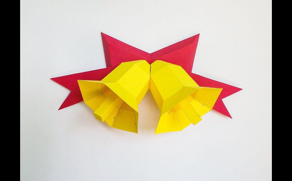 Diy Christmas Bells 3d Papercraft By Gazab Pitara On - Origami-papa-noel