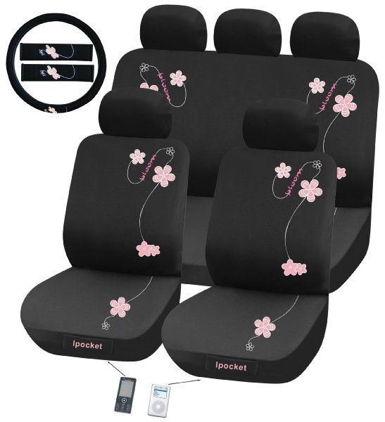 Pink Flower Universal Fit Seat Cover Set Amazon Automotive Girly