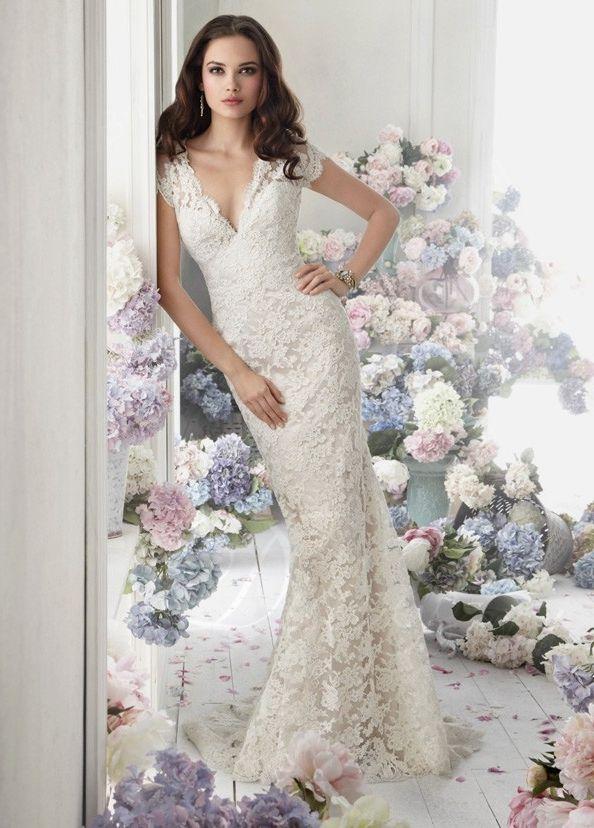Timeless Sheath V-neck Sweep Train Lace Wedding Dress #Wedding #Dress