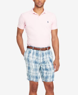 """Polo Ralph Lauren Men's 9"""" Plaid Linen Shorts - Blue 38"""