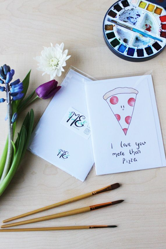 I Love You More Than Pizza / 5x7 PIZZA GREETING by MEDesignsStudio
