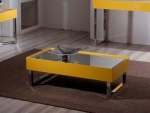Mesa de Centro Antares Amarela, Tampo Espelhado, Estrutura em Alumínio, em várias cores