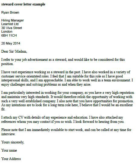 Steward Cover Letter Example | Job cover letter examples ...