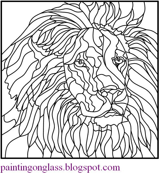 Image detail for -Free Stained Glass Pattern : Lion ~ painting on glass