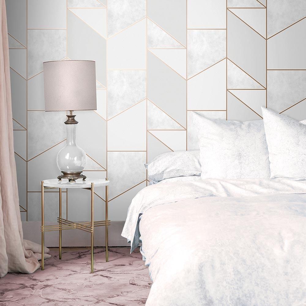 Color Block Geo Wallpaper In 2021 Grey And Gold Bedroom Rose Gold And Grey Bedroom Gold Bedroom Decor