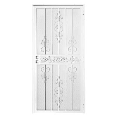 Unique Home Designs 36 In X 80 El Dorado White Surface Mount Outswing Steel Security Door With Heavy Duty Expanded Metal Screen