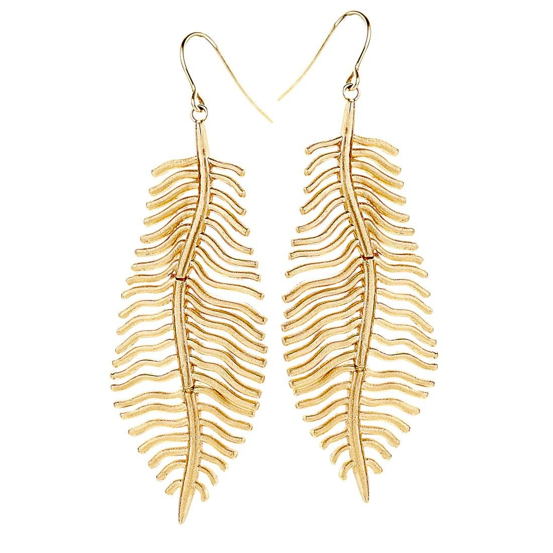 Brushed Gold Feather Earrings 14k Yellow Gold Love Rocks Ny Earrings Gold Feather Earrings Feather Earrings