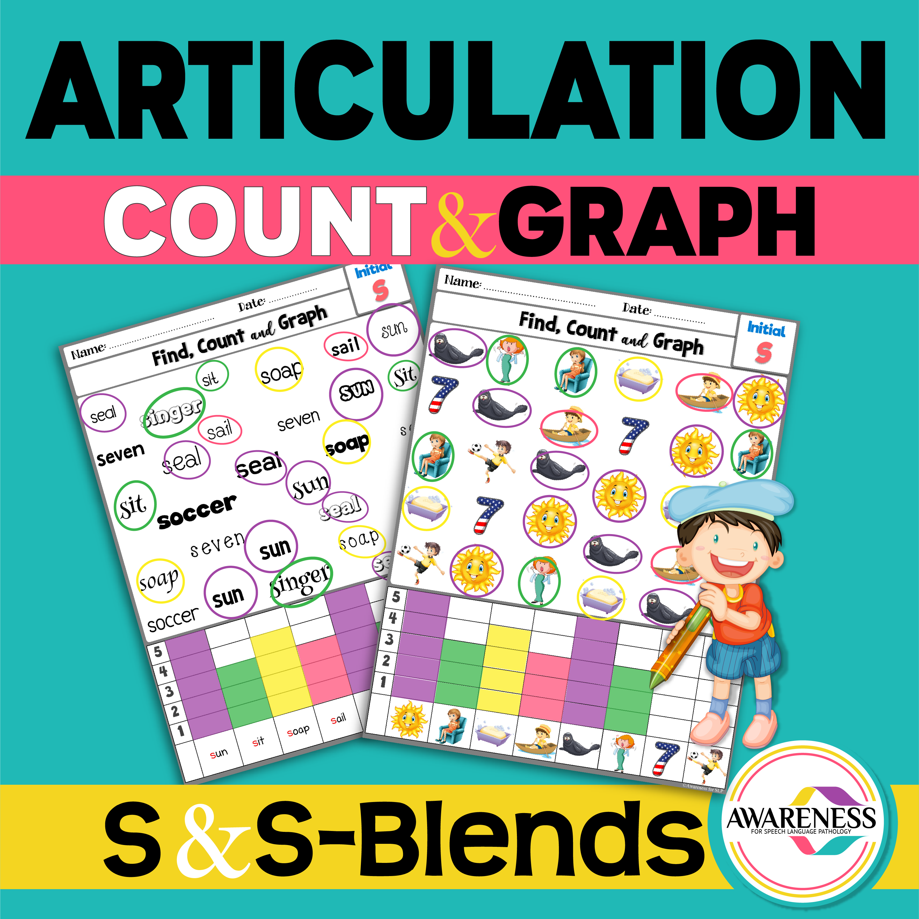 S And S Blends Articulation Count And Graph Is A No Prep