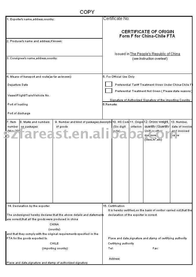 BUSINESS CERTIFICATE (FORM F) $24~$30 сертификаты Pinterest - certificate of origin forms