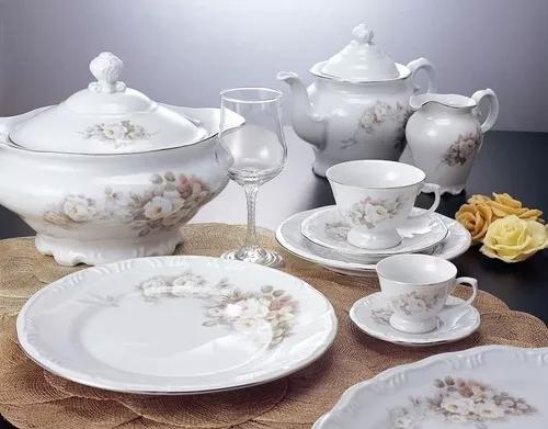 Jogo De Pratos E Xicaras 60 Pecas Vitoria Porcelana Schmidt R 1 816 60 Jantares Baratos Aparelhos De Jantar Jogo De Jantar