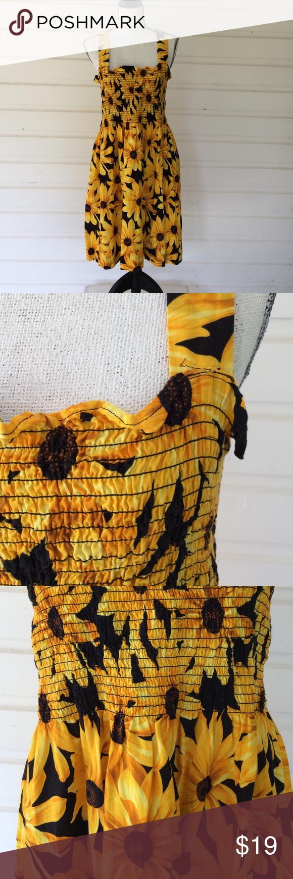 Handmade Sunflower Tunic   Sunflower dress, Cotton dresses ...