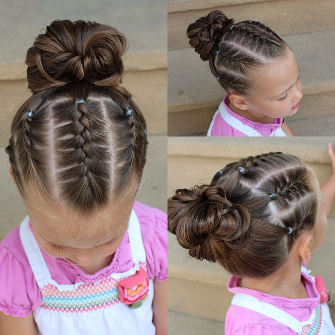 5 French Braids Into A Messy Bun Competition Hair Little Girl Hairstyles Braided Updo For Short Hair