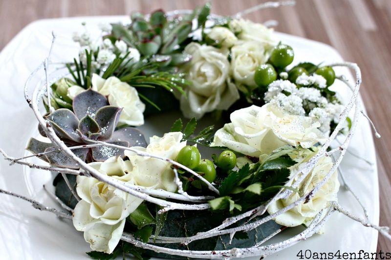 une jolie couronne centre de table en fleurs fra ches avec truffaut diy 40 ans et 4 enfants. Black Bedroom Furniture Sets. Home Design Ideas