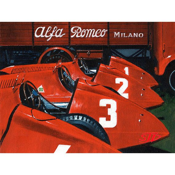 ALFA ROMEO Print Fathers Day Gift For Car Fan Italian Birthday Men Limited Edition F1 Art Guys Fangio Motorsport