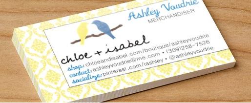 Just ordered my Chloe Isabel business cards Contact me
