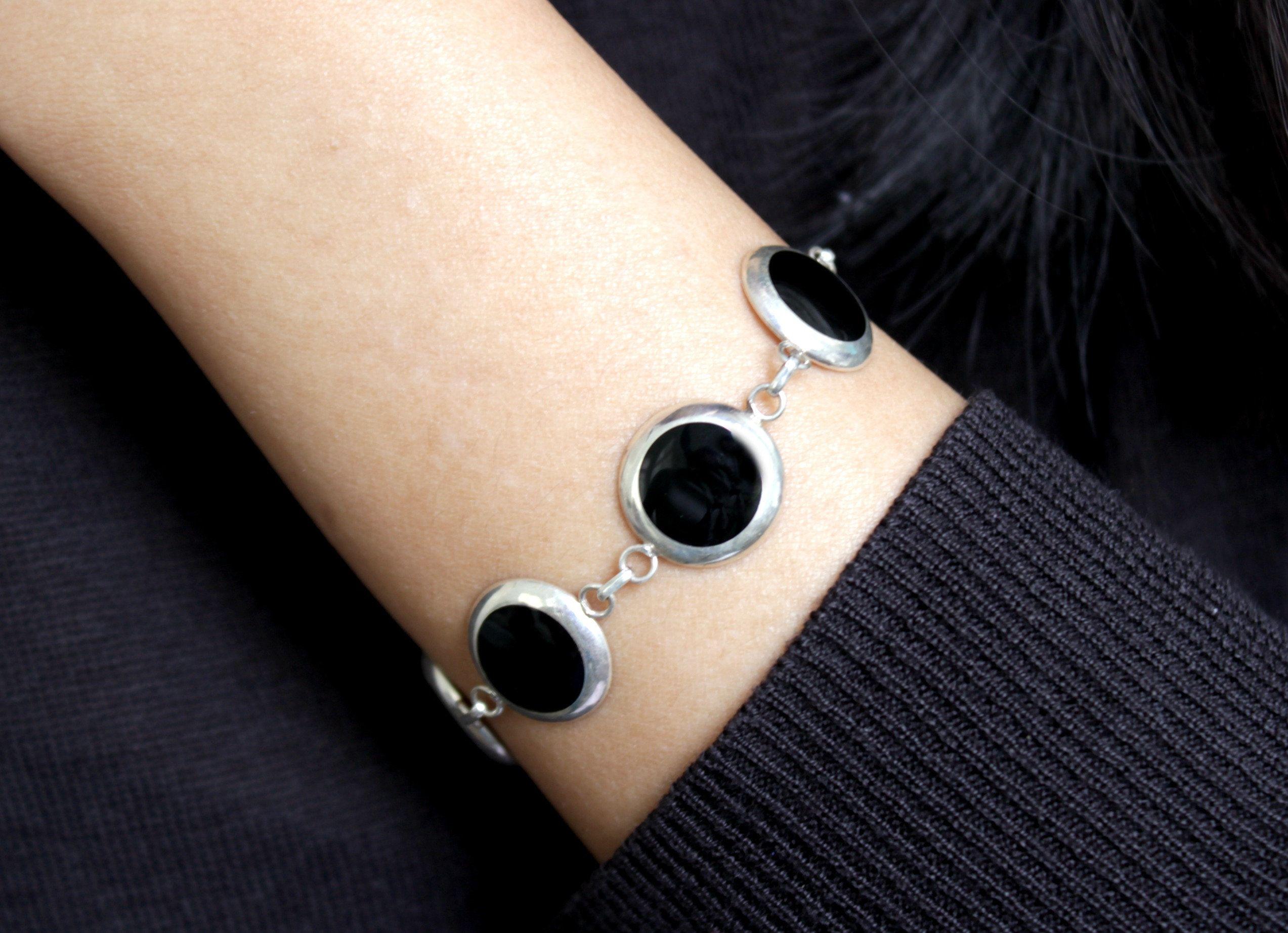 Black onyx necklace onyx bracelet black onyx boho jewelry set