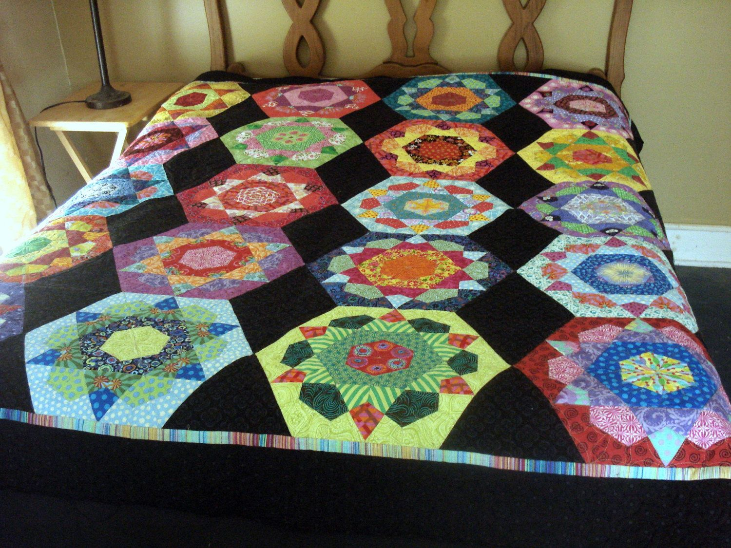 Double Quilt in Hexigon Design by uniquelynancy on Etsy