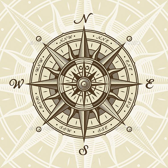 Vintage Nautical Compass Rose | Compass rose tattoo ...