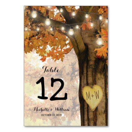 Rustic Fall Autumn Tree Wedding Table Numbers | Zazzle.com