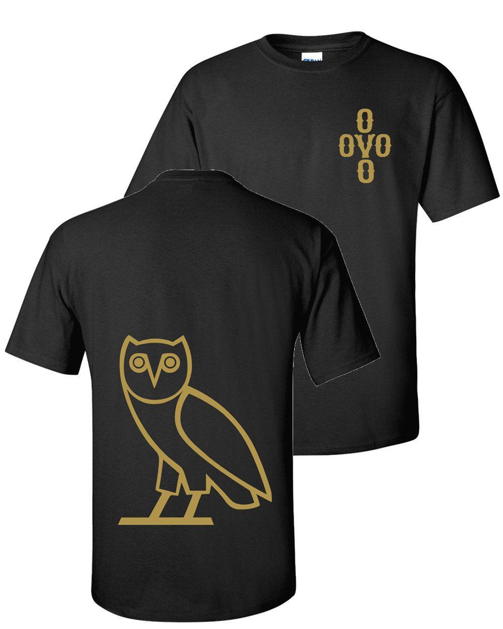 c414b9a98b6 OVO Classic Owl Tee Black T-Shirt - Metallic Gold Ink by MambaStudio on Etsy