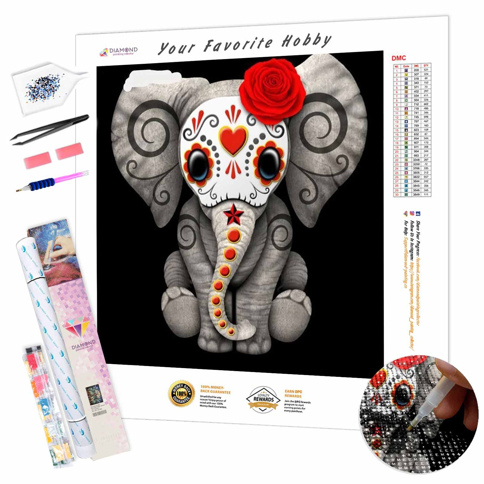 Baby Elephant skull DIY Diamond Painting Kit - Round 40x40cm16x16inch